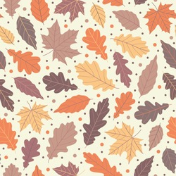 Lovely autumn leafs pattern in warm light colors, seamless repeat. Trendy flat style. Great for backgrounds, apparel & editorial design, cards, gift wrapping paper, home decor etc.