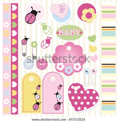 lovely baby elements for scrapbook