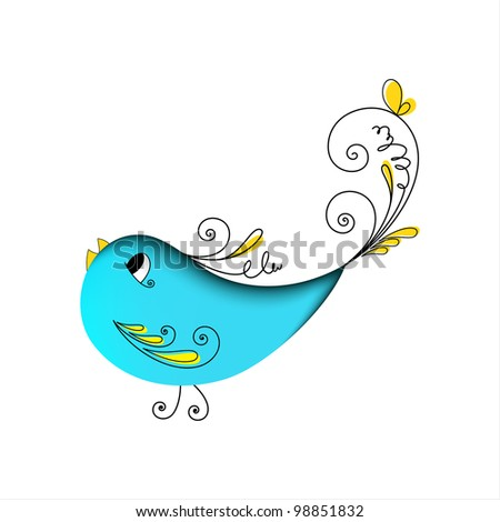 Lovely blue bird with floral elements on white background Stock photo ©
