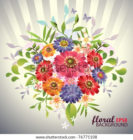 Lovely  bouquet flowers.Vector