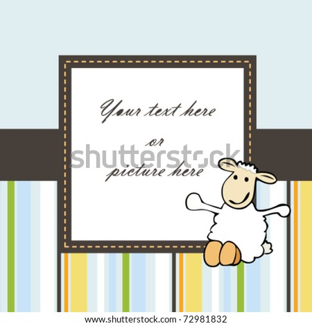 lovely card or frame with sheep
