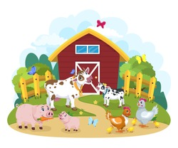 Lovely cartoon and happy farm animals. Chicken with chickens, cow with calf, pig with piglet, against nature background, farm and forest, illustrated illustration. A smiling character.