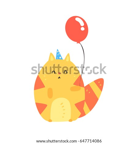 lovely cartoon red cat in a