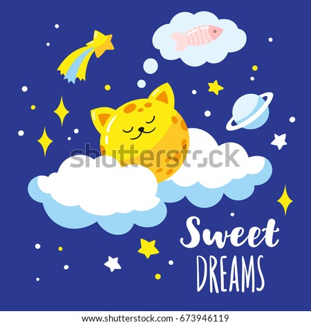 lovely cat moon on clouds in