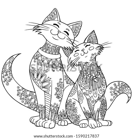 Lovely cats. Anti stress freehand sketch with doodle and zentagle elements. Vector coloring book for adults. Outline illustration. Сток-фото ©