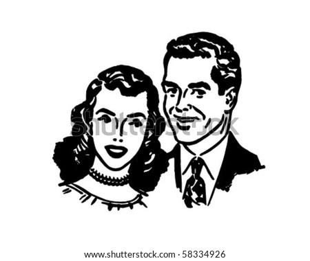 Lovely Couple - Retro Clip Art