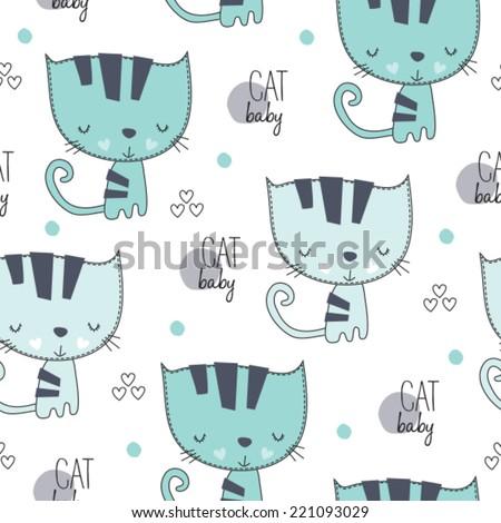 lovely cute cat pattern vector illustration