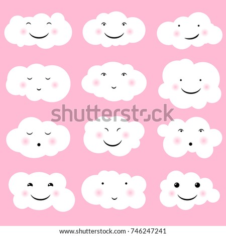 Lovely cute clouds, kawaii style. Set of Emoticons, Emoji. Smile icons. Isolated vector illustration
