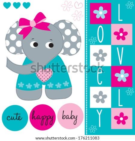 lovely cute elephant baby vector illustration - stock vector