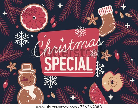 Lovely detailed 'Christmas Special' banner or header image with traditional holiday season themed bakery, sweets and spices. Ideal for graphic and web Xmas decoration