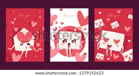 Lovely envelope vector loving mail loved hearted mailed post emoticon mailing love message letter kissing kawaii email character backdrop illustration emailing set background banner.