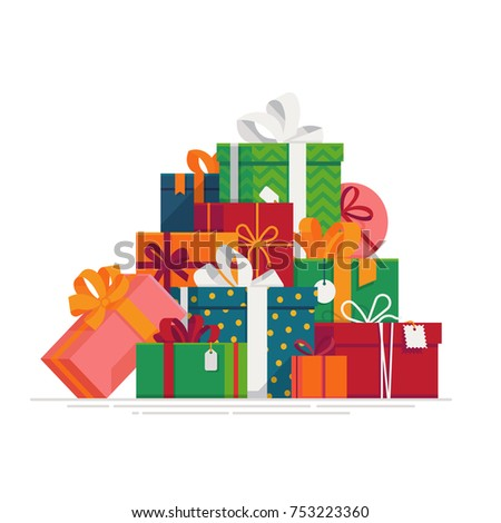 Lovely flat vector festive holiday design element on stack or pile of large variety of gift boxes and present packages. Ideal for Christmas themed web and graphic design
