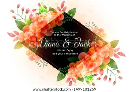 lovely flowers wedding card invitation design background
