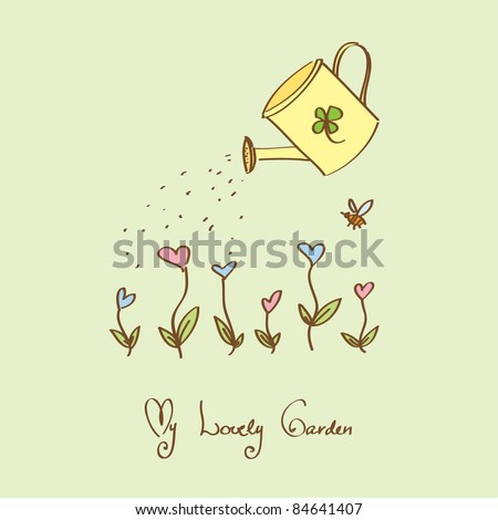 Lovely garden with heart flowers and watering-can