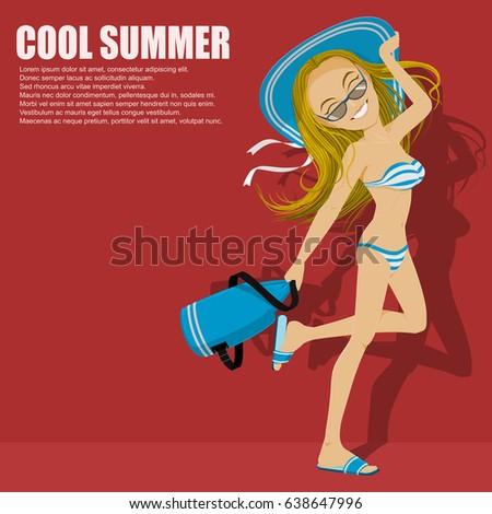 lovely girl in bikini is going