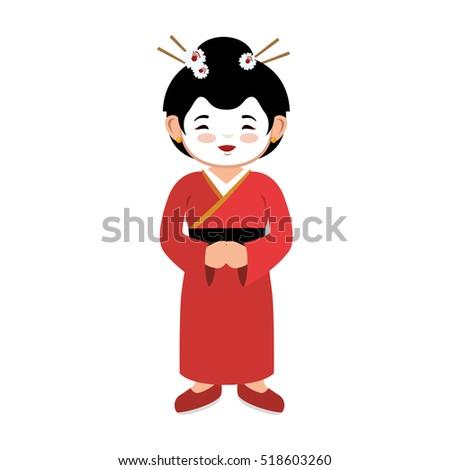 lovely girl red kimono japanese
