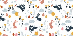 Lovely hand drawn Easter seamless pattern, doodle bunnies, eggs and flowers, great for banners, wallpapers, wrapping, textiles - vector design