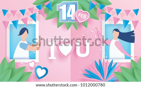 lovely happy couple. Valentine's day celebration on window with text I LOVE YOU design for Valentine's day festival. love pink background. Vector illustration.paper art style.