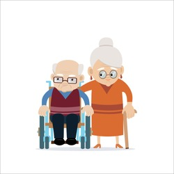 Lovely happy old couple - senior caucasian woman with cane and disabled old bald man in wheelchair. Flat vector characters on isolated background. Concept for growing old together or happy retiring.