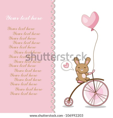 lovely hare on a bicycle (vector)