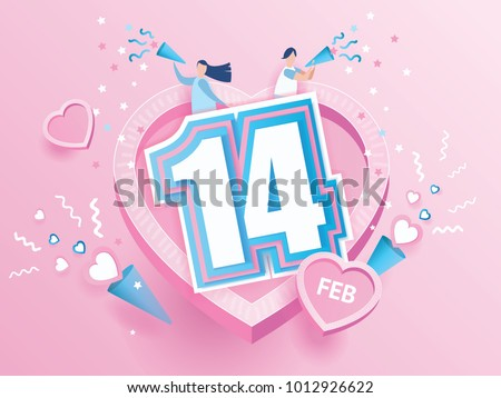 lovely joyful couple Valentine's day Celebration on big pink heart with text 14 February design for Valentine's day festival. love background. Vector illustration.paper art style.