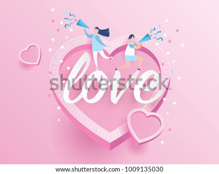 lovely joyful couple Valentine's day Celebration on big pink heart with text LOVE design for Valentine's day festival. love pink background. Vector illustration.