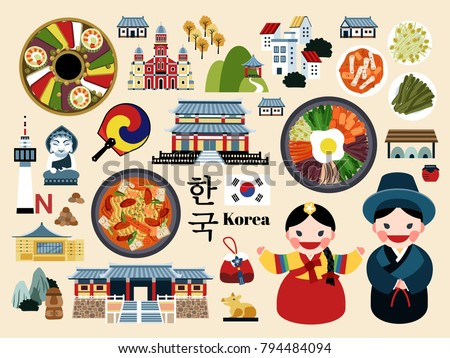 Lovely Korea travel concept set, Korean traditional culture symbol collection, korea country name in Korean
