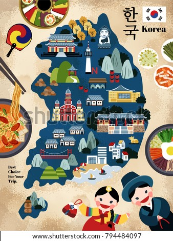 lovely korea travel map  korean