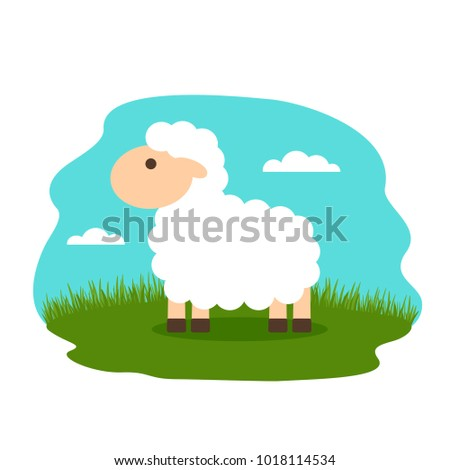 lovely lamb in the meadow. flat vector illustration