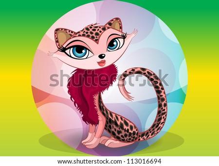 lovely leopard  vector
