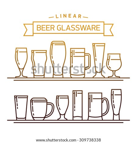 Lovely linear flat design vector beer glassware set. Ideal for graphic and motion design in bars and restaurants industry. Featuring stout, lager, porter, ale, pilsner and other beer glasses Stock photo ©