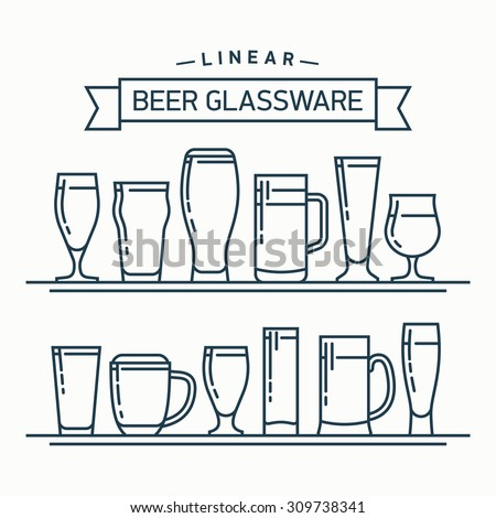Lovely linear flat design vector beer glassware set   Various types of beer glasses, mugs and goblets in trendy outline style featuring stout, lager, porter, ale, pilsner and other beer glasses Stock photo ©