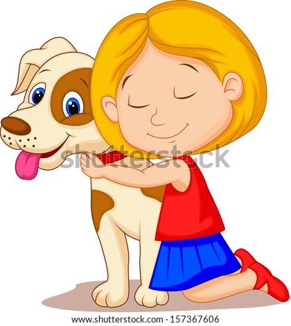 lovely little girl hugging pet