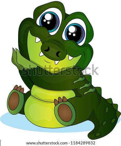 Lovely little green crocodile.