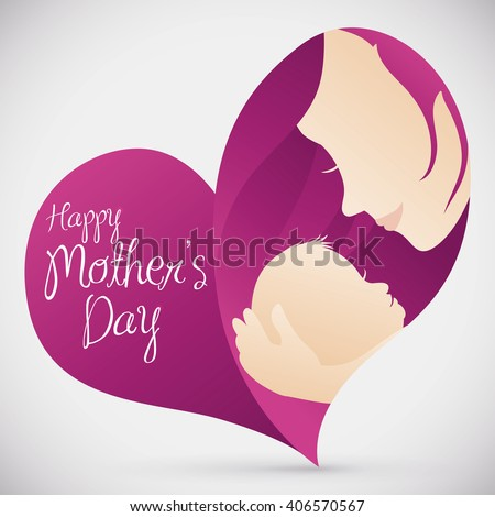 Lovely mom holding her little baby inside in a heart shape with lovely mom holding her little baby inside in a heart shape with greeting message for mothers m4hsunfo