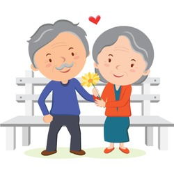 Lovely old couple. Vector illustration.