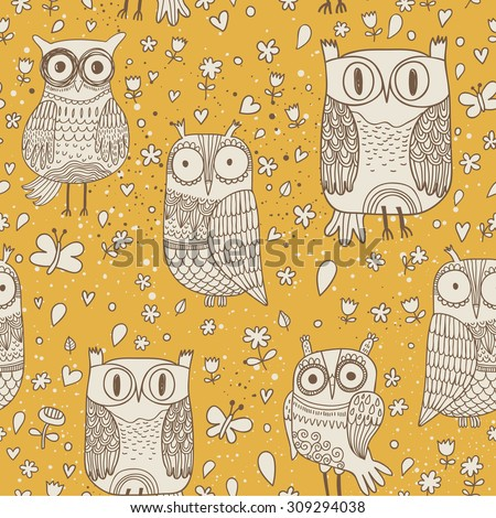 lovely owls with butterflies in