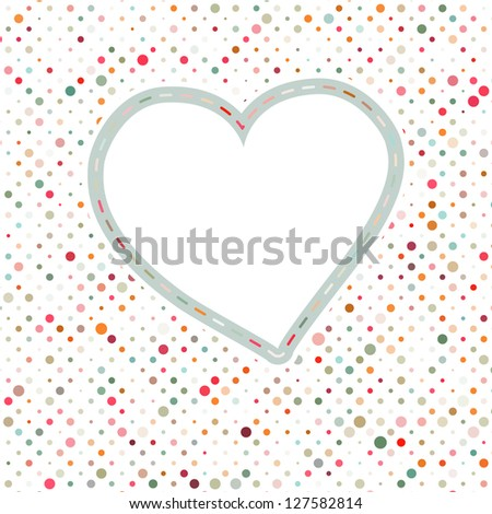 Lovely pink blue polka dots heart frame. EPS 8 vector file included