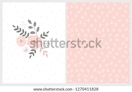 Lovely Pink Bouquet Vector Card and Floral Pattern. Pink Abstract Flowers Gray Twigs and Leaves. Infantile Style  Design. White Background with Delicate Dots. Soft White Leaves on Pink Background. Stockfoto ©