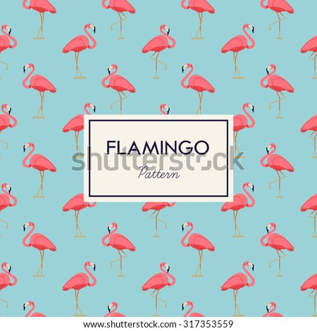lovely pink flamingo vector