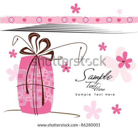 Lovely Pink Gift - stock vector