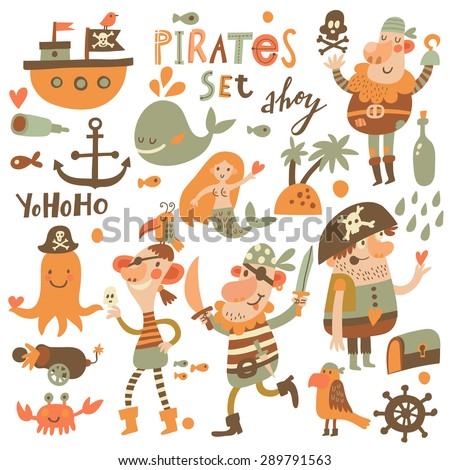 lovely pirate set in cartoon