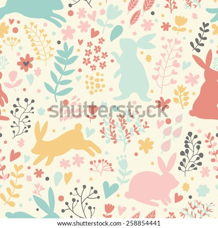 lovely rabbits in hearts and