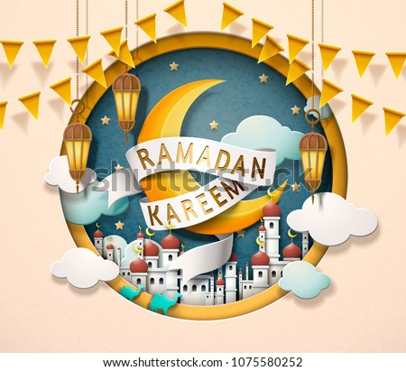Lovely Ramadan Kareem design in paper art style, crescent and mosque scenery