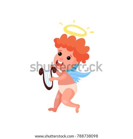 lovely redhead little angel boy