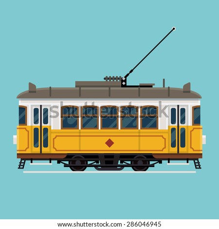 Lovely retro vector detailed tram car, side view, isolated | Mass transit vintage graphic element on electric tramway car. Ideal for urban lifestyle, touristic and sightseeing graphic and web design