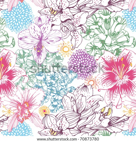 lovely seamless pattern with colorful flowers