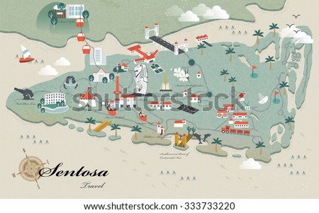 lovely Sentosa must see attractions travel map in 3d isometric design