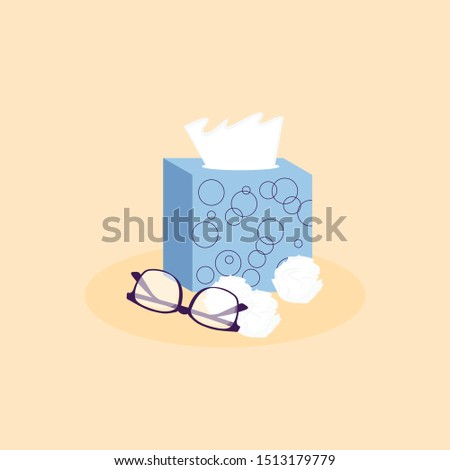 Lovely set of cold and flu season items in trendy vector flat design: napkin box, glasses. Medicine and health care concept. Vector Illustration Foto stock ©