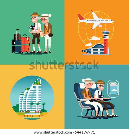 Lovely set of vector concept illustration on elderly travel. Old couple traveling visuals with luggage, airport terminal, plane, resort hotel and cabin seats